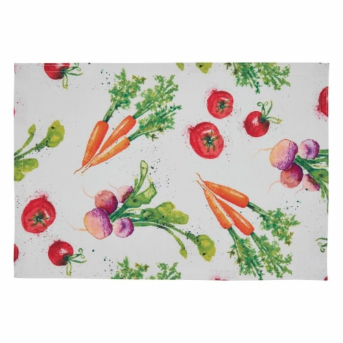 SARO 8919.M1319B 13 x 19 in. Oblong Veggies Design Table Mats - Set of 4 Perspective: front