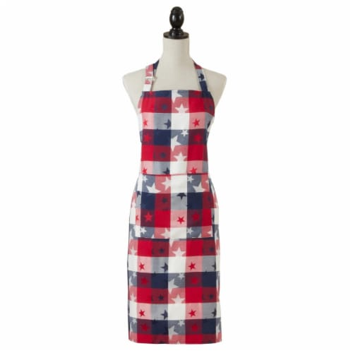 Saro Lifestyle 1776.M2436 24 x 36 in. Checkered Cooking Apron with Americana Design Perspective: front
