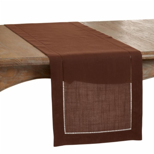 SARO 6314.CT1690B 16 x 90 in. Oblong Classic Hemstitch Border Table Runner  Chocolate Perspective: front