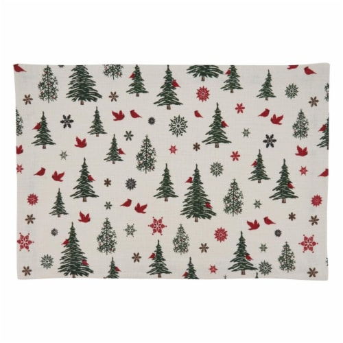 Saro Lifestyle Holiday Placemats with Christmas Tree & Snowflakes Design Perspective: front