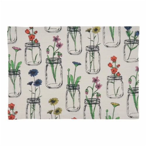 Saro Lifestyle Cotton Placemats with Flowers & Vases Design Perspective: front