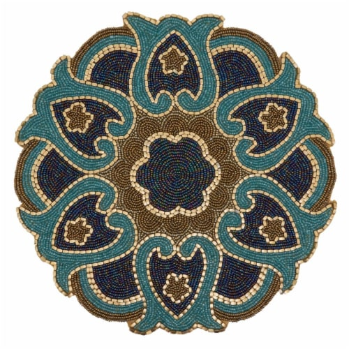 Saro Lifestyle 5817.M14R Round Placemats with Beaded Design - Set of 4 Perspective: front