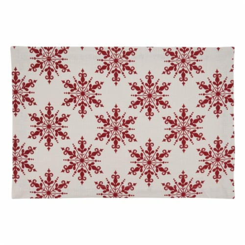SARO 7553.R1420B Cotton Placemats with Snowflake Design - Set of 4 Perspective: front