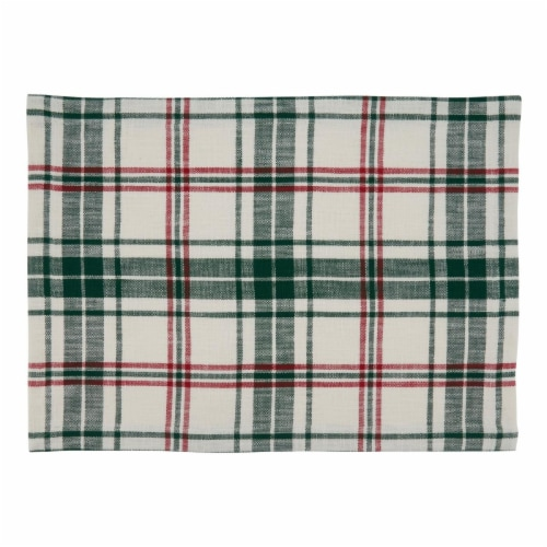 Saro Lifestyle 541.WG1420B Cloth Placemats with Plaid Design - Set of 4 Perspective: front