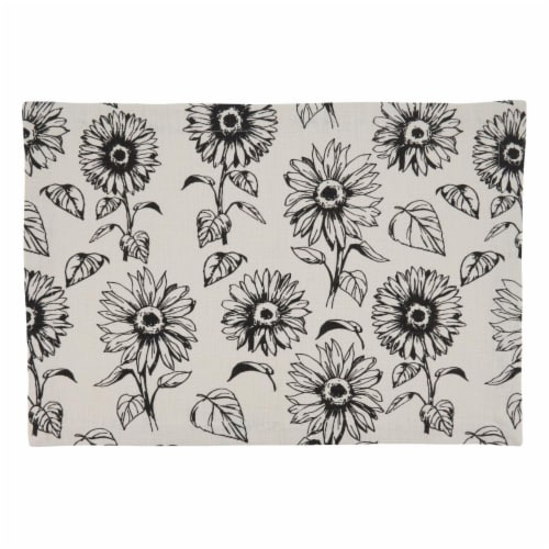 Saro Lifestyle 581.I1420B Cotton Placemats with Sunflower Design - Set of 4 Perspective: front