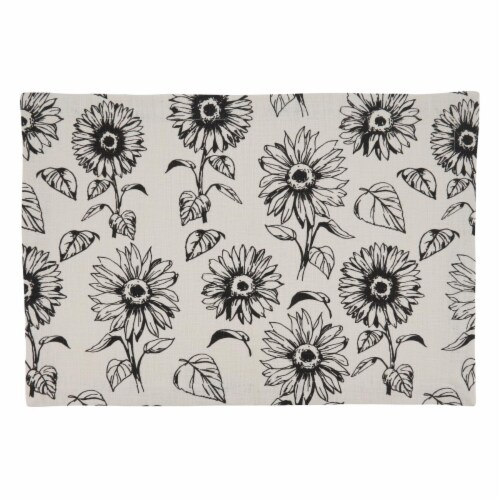 SARO 581.I1420B Cotton Placemats with Sunflower Design - Set of 4 Perspective: front