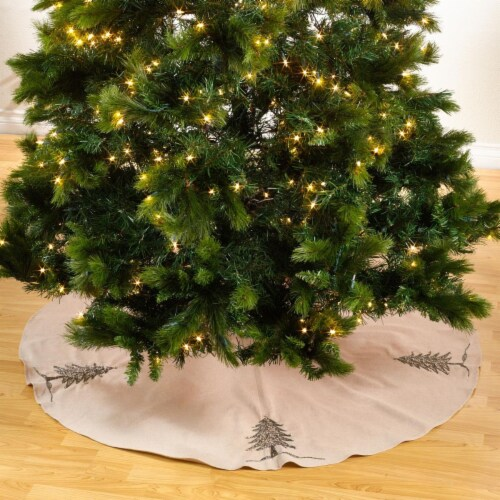 SARO 1025.S72R 72 in. Round Silver Beaded Christmas Tree Skirt Perspective: front
