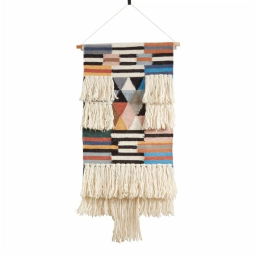 SARO WA984.M Textured Woven Wall Hanging with Fringe Design Perspective: front