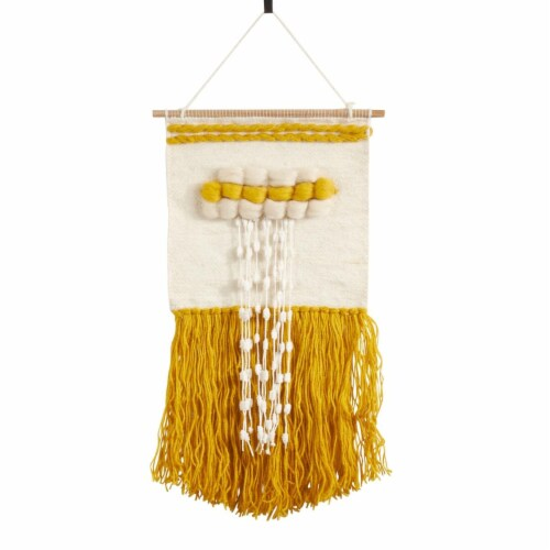 SARO WA989.Y Textured Woven Wall Hanging with Braid Design  Yellow Perspective: front