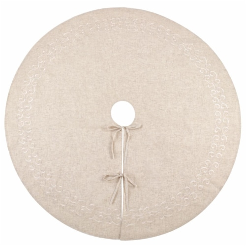 SARO 493.N68R 68 in. Round Natural Embroidered Design Tree Skirt Perspective: front