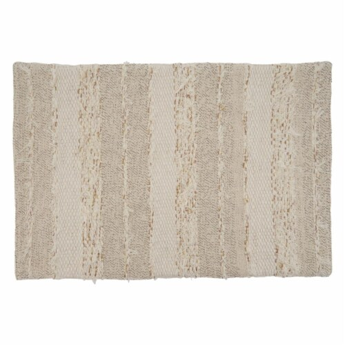 Saro Lifestyle 838.I1420B 14 x 20 in. Oblong Ivory Fringe Stripe Design Placemats, Set of 4 Perspective: front