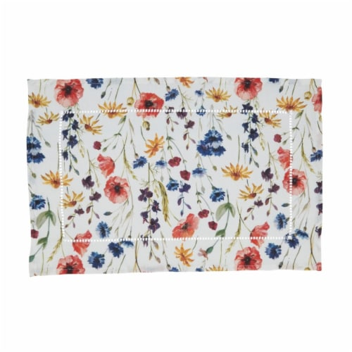 Saro 1629.M1420B 14 x 20 in. Floral Hemstitch Oblong Placemats, Multi Color - Set of 4 Perspective: front