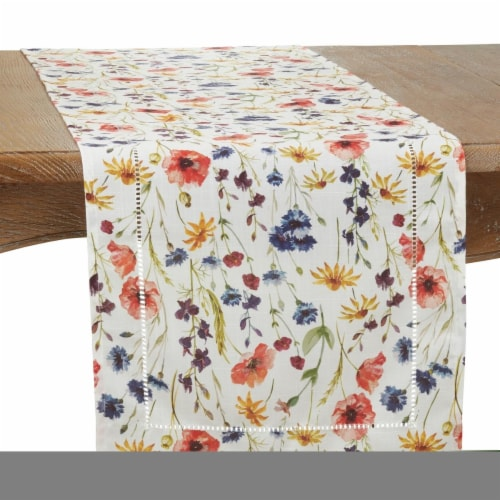 Saro 1629.M1672B 16 x 72 in. Floral Hemstitch Oblong Table Runner, Multi Color Perspective: front
