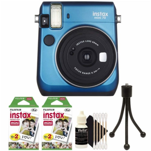 Fujifilm Instax Mini 70 Instant Film Camera Blue With Accessories Perspective: front
