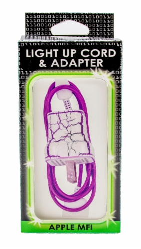 James Paul Products Lightning Pattern Light Up Cord & Adapter - White/Purple Perspective: front