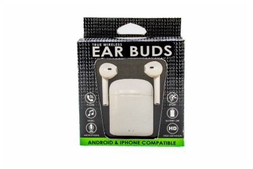 James Paul Products i12s Wireless Earbuds - White Perspective: front