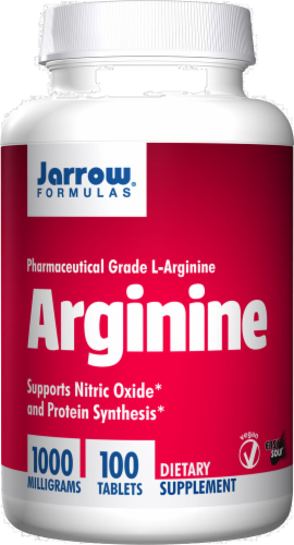 Jarrow Formulas Arginine 1000mg Tablets 100 Count Perspective: front