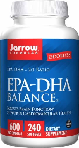 Jarrow Formulas EPA-DHA Balance Softgels 600mg 240 Count Perspective: front
