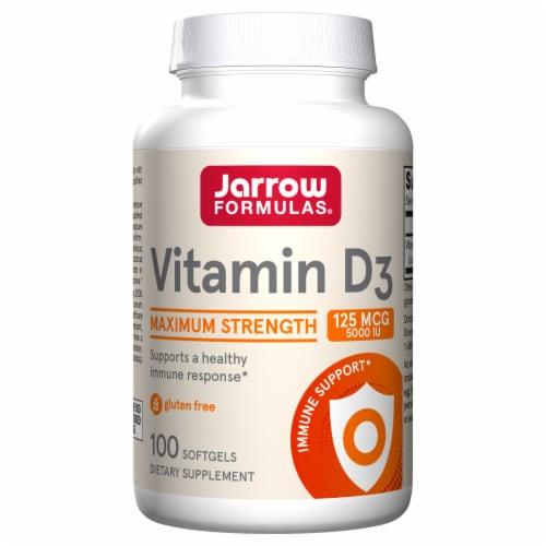 Jarrow Formulas Vitamin D3 5000IU Softgels 100 Count Perspective: front