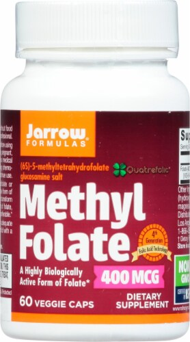 Jarrow Formulas Methyl Folate Capsules 400mcg 60 Count Perspective: front