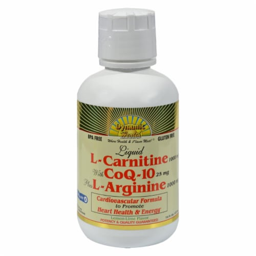 Dynamic Health  Liquid L-Carnitine with CoQ-10 plus L-Arginine   Lemon Lime Perspective: front