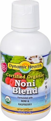 Dynamic Health Organic Noni Raspberry Blend Perspective: front