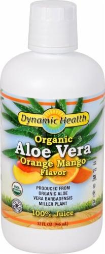 Dynamic Health Organic Orange Mango Flavor Aloe Vera Juice Perspective: front