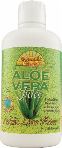 Dynamic Health Organic Lemon Lime Flavor Aloe Vera Juice Perspective: front