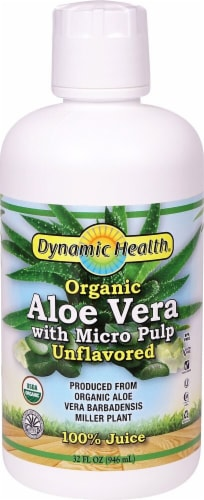 Dynamic Health Organic Unflavored Aloe Vera Juice with Micro Pulp Perspective: front