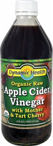 Dynamic Health  Organic Raw Apple Cider Vinegar with Mother & Tart Cherry Perspective: front