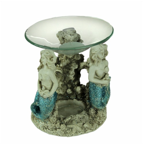 Blue Glitter Tail Mermaids Tealight Oil Warmer Perspective: front
