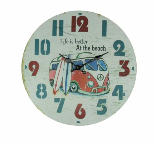 Weathered White Wood Vintage Surfer Bus Wall Clock Perspective: front