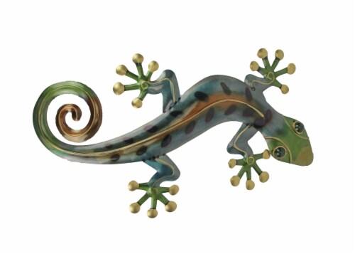 23 Inch Metal Gecko Sculpture Wall Hanging Art Home Decor Garden Decoration Perspective: front