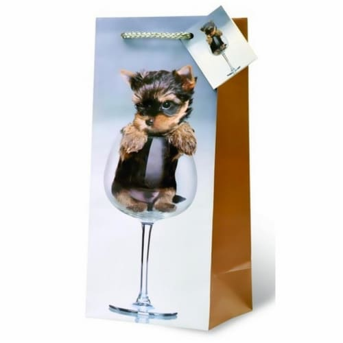 Wrap-Art 17712 A Puppy Pour Wine Bottle Gift Bag - Pack of 6 Perspective: front