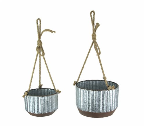Farmhouse Style Corrugated Galvanized Metal and Rope Hanging Planters Set of 2 Perspective: front