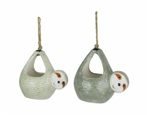 Set of 2 Adorable Ceramic Sloth Hanging Mini Planters Great For Succulents Perspective: front
