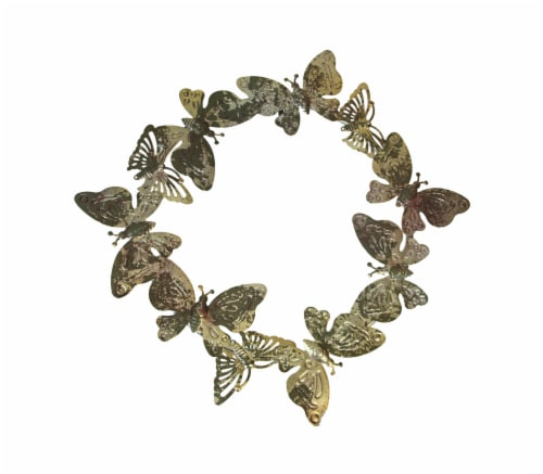 16 Inch Galvanized Metal Butterfly Wreath Rustic Hanging Wall Decor Home Accent Perspective: front