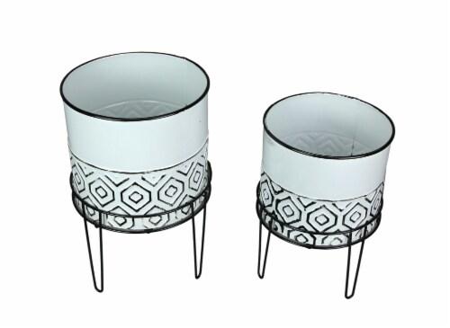 Set of 2 White Metal Planter Garden Stand Modern Plant Pot Farmhouse Decor Perspective: front