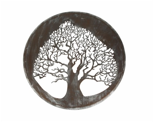 Metal Tree Decorative Wall Art Modern Home Decor Hanging Sculpture Decoration Perspective: front