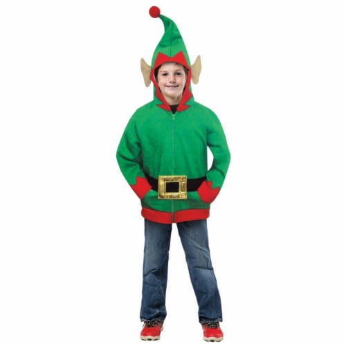 Morris Costumes GC16015710 Child Hoodie ELF, 7-10 Perspective: front