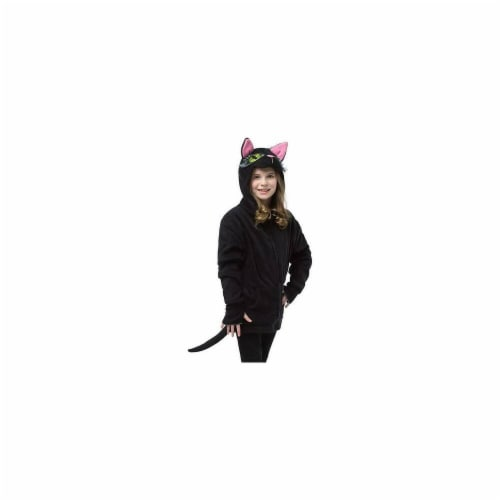 Morris Costumes GC16020710 Hoodie Black Cat for Child, 7-10 Perspective: front