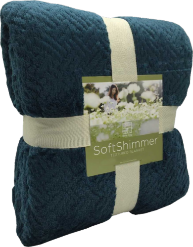 Berkshire Blanket Soft Shimmer Microplush Textured Blanket - Deep Atlantic Perspective: front