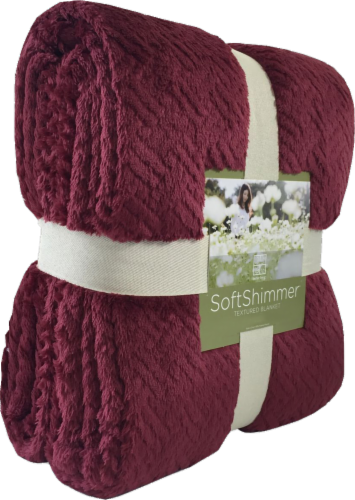 Berkshire Blanket Soft Shimmer Microplush Textured Blanket - Wine Perspective: front