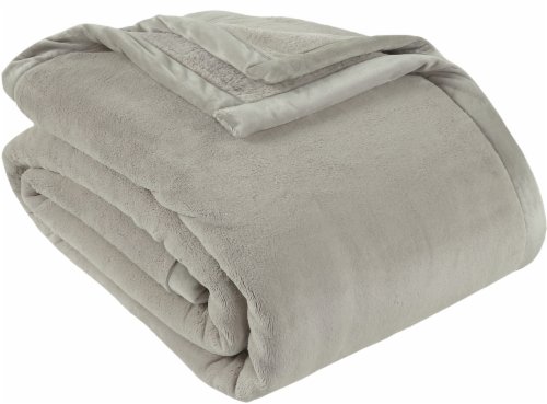 Berkshire Blanket Prima Plush Throw Blanket - Taupe Perspective: front