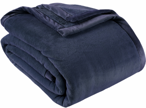 Berkshire Blanket Prima Plush Throw Blanket - Dark Blue Perspective: front