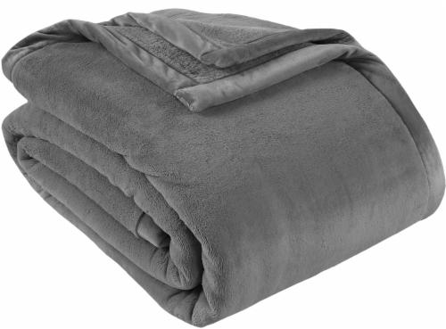 Berkshire Blanket Prima Plush Throw Blanket - Gray Perspective: front