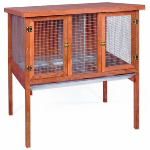 Heavy Duty Double Rabbit Hutch Perspective: front