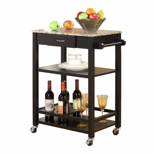 Pilaster Designs - Faux Marble with Wood Kitchen Buffet Serving Cart, Black Finish Perspective: front