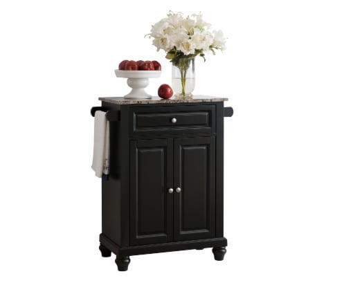 Pilaster Designs - Black With Marble Finish Top Kitchen Island Storage Cabinet Perspective: front