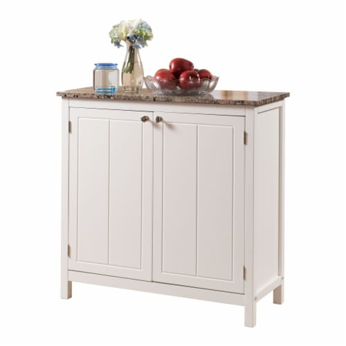 Pilaster Designs - White With Marble Finish Top Kitchen Island Storage Cabinet Perspective: front